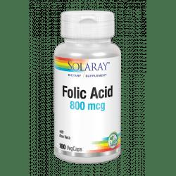 Folic Acid 800 mcg - 100 VegCaps. Sin gluten. Apto para veganos