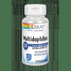 Multidophilus™12 - 50 VegCaps con recubrimiento entérico, sin leche. Con inulina. Apto para veganos